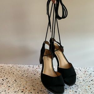 Esprit black block heel lace up sandals